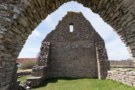 The ancient chapel ruin Saint Knut at the swedish island Oland Stock Photo