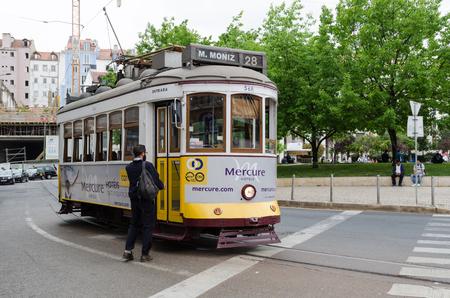 Lisbon, Portugal - April 25, 2017: Tram line 28 parked at the square Parca Martim Moniz in the center of Lisbon, Portugal