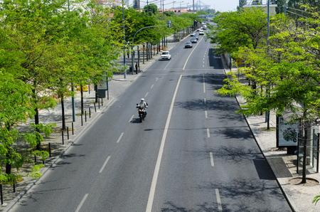 Lisbon, Portugal - April 24, 2017: Street view at Avenida da India in the district Belem in Lisbon, Portugal