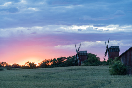 Traditional windmills by sunset at the swedish island Oland Stock Photo