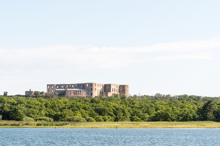 Borgholm Castle ruin at the island Oland in Sweden from seaside