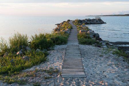 Evening by an idyllic bath pier at the swedish island Oland
