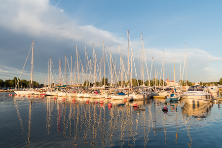 Borgholm, Sweden - July 22, 2017: Magical light a summer evening in Borgholm harbor at the swedish island Oland in the Baltic Sea