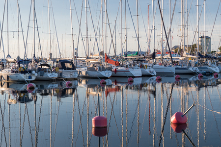 Borgholm, Sweden - July 22, 2017: Yachts in Borgholm harbor at the swedish island Oland in the Baltic Sea