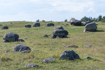 Historical gravefield at the island Oland in Sweden