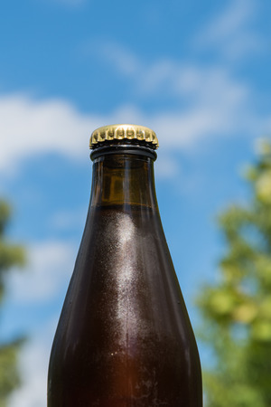 Closeup of a cool beer bottle top by a blue sky