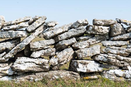 Traditional limestone stone wall at the swedish island Oland Stock Photo
