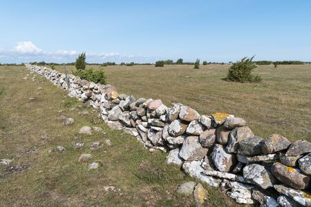 Fence of old traditional dry stone wall in a swedish grassland at the island Oland Stock Photo
