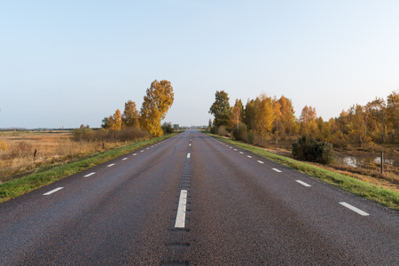 Low angle image of a straight road into a fall season colored landscape Stock Photo