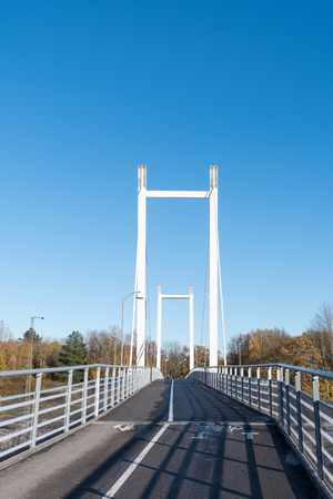 Modern hanging bridge for walking and cycling Stock Photo