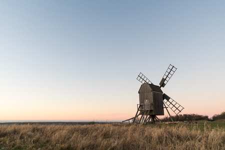 Old wooden windmill at the swedish island Oland in the Baltic Sea