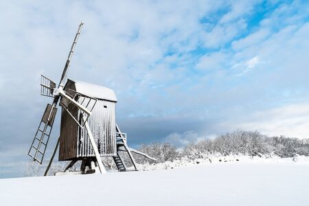 Old traditional windmill at the swedish island Oland, the island on sun and wind Stock Photo