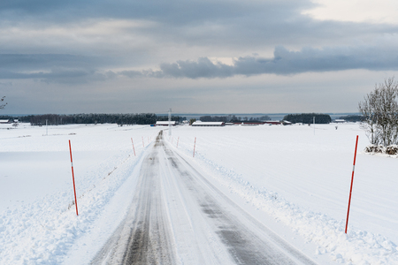 Country road with snow stakes at the swedish island Oland