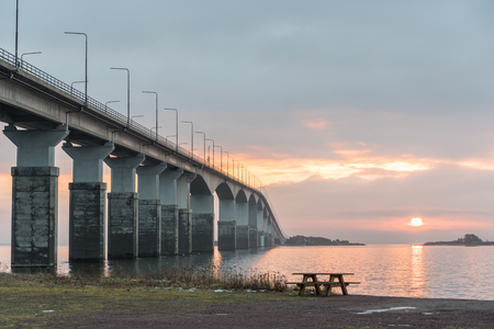 Morning by The Oland Bridge - connecting the island Oland with mainland Sweden Stock Photo