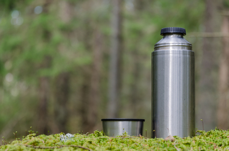 Leisure equipment and cup in a green forest