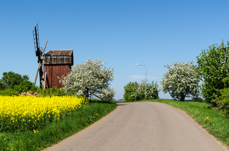 Country road by an old windmill in a colorful spring season landscape at the swedish island Oland Stock Photo