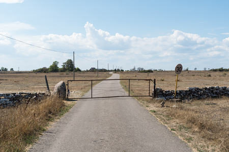 Old gate by a narrow country road in a dry grassland at the swedish island Oland Stock Photo