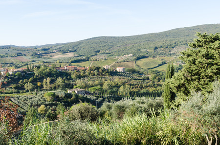 Beautiful Tuscany landscape with sunlit green rolling hills by the village San Gimignano in Italy Stock Photo