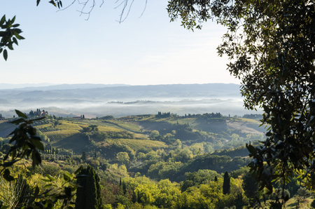 Beautiful Tuscany landscape by the village San Gimignano in Chianti in Italy Stock Photo