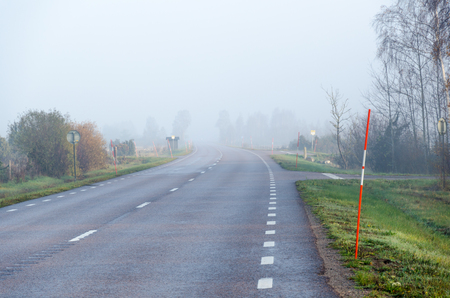Morning with misty road and snow stakes by roadside