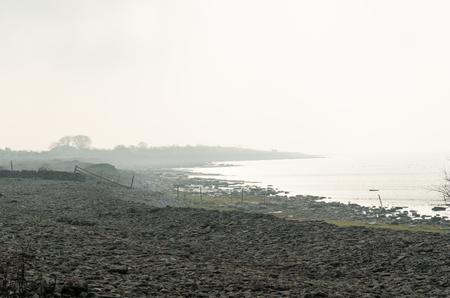 Fall seasom by a misty bay of the Baltic Sea at the swedish island Oland