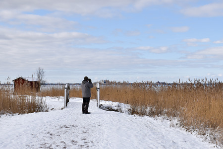 Birdwatcher watching in a wetland in winter season at the swedish island Oland Stock Photo