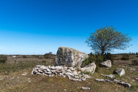 Ancient shepherds shelter by a big rock in a barren landscape on the swedish island Oland