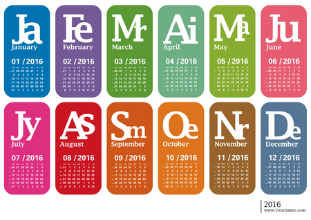 weeks: Creative calendar 2016 - week starts sunday, with numbers of weeks