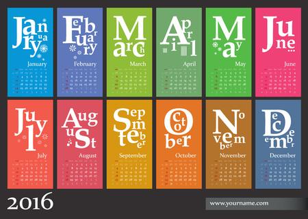 kalendarz: Kreatywny Kalendarz 2016 - tydzień zaczyna się od niedzieli, z numerami tygodni Ilustracja
