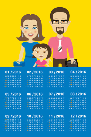 weekly planner: Calendar 2016 with family Illustration