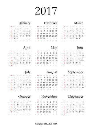 weeks: Elegant calendar 2017, weeks start on sunday, with numbers of weeks.