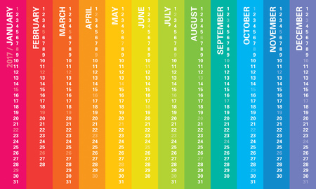 calendario julio: Creativa del calendario del arco iris 2017 Vectores