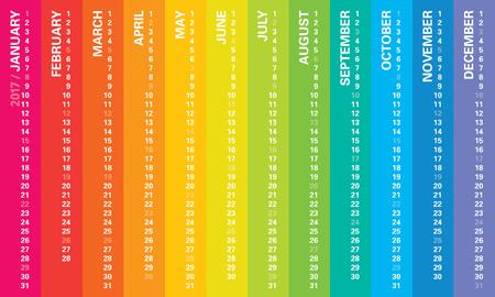 Creative rainbow calendar 2017