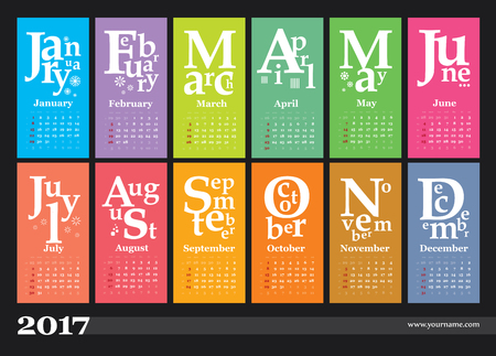 event planner: Creative jazzy calendar 2017. Weeks start on sunday, grid with numbers of weeks.