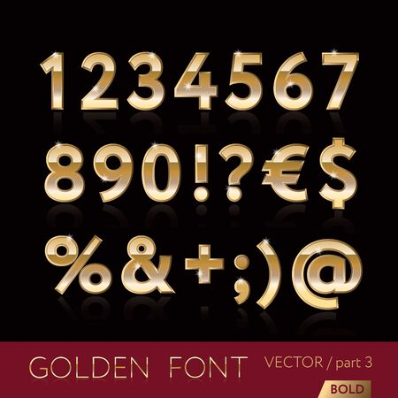 numbers background: Golden alphabetic fonts and numbers - elegant bold letters