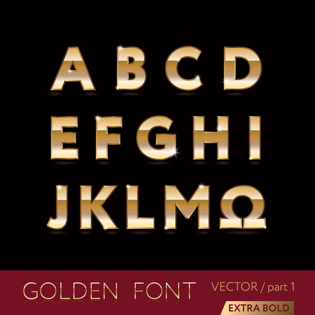 alphabetic: Golden alphabetic fonts and numbers - elegant bold letters