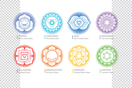 sanskrit: Chakras set - ayurveda, spirituality, yoga symbols. Editable illustration, transparent circle around. Illustration