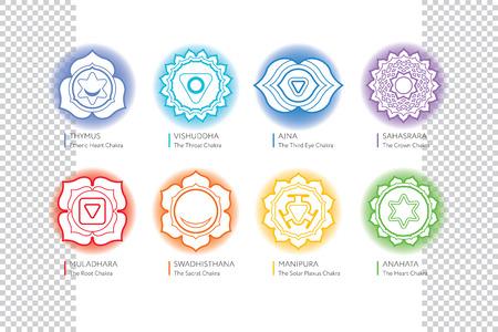 swadhisthana: Chakras set - ayurveda, spirituality, yoga symbols. Editable illustration, transparent circle around. Illustration