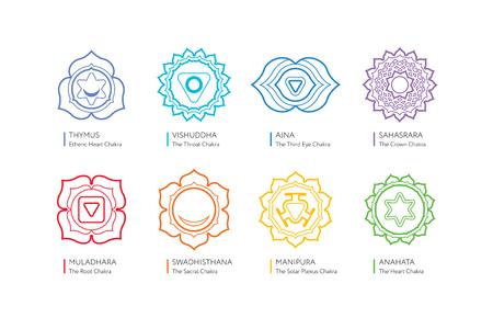 Chakra set - simboli ayurveda, spiritualità, yoga. Illustrazione modificabile, stile linaer. Archivio Fotografico - 65943182