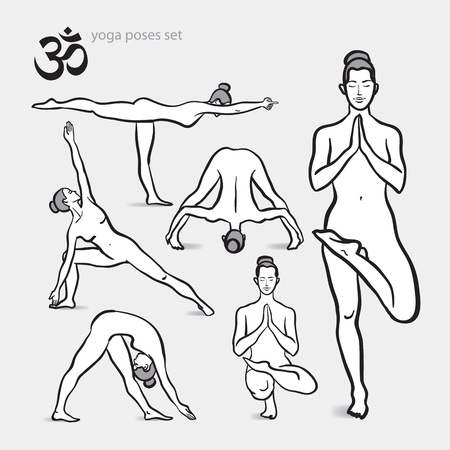 Vector yoga asanas illustration. Healthy lifestyle. For print design, banner, poster, label, bookmark.