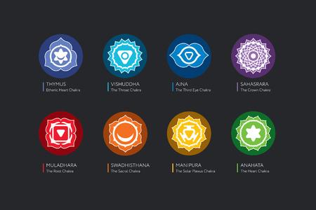 sanskrit: Chakras set - ayurveda, spirituality, yoga symbols.