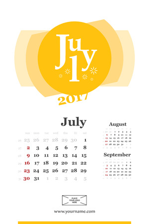 Wall calendar page for july 2017 year. Week start sunday, classic grid with numbers. Editable template.