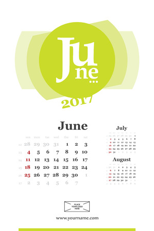 Wall calendar page for june 2017 year. Week start sunday, classic grid with numbers. Editable template. Illustration