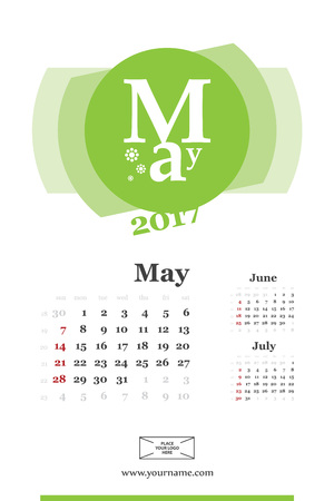 Wall calendar page for may 2017 year. Week start sunday, classic grid with numbers. Editable template. Illustration