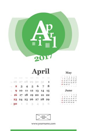 Wall calendar page for april 2017 year. Week start sunday, classic grid with numbers. Editable template.