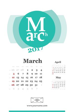 Wall calendar page for march 2017 year. Week start sunday, classic grid with numbers. Editable template. Illustration