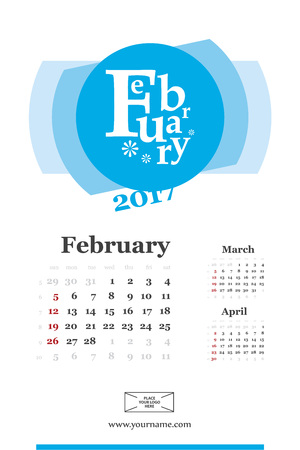 Wall calendar page for february 2017 year. Week start sunday, classic grid with numbers. Editable template. Illustration