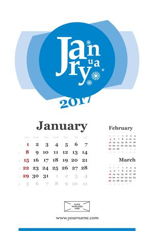 Wall calendar page for january 2017 year. Week start sunday, classic grid with numbers. Editable template.
