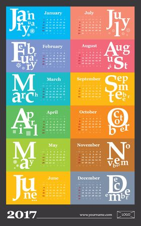 Creative calendar 2017 - week start on sunday, classic grid with numbers. Multicolored pages can be used for print,  bookmark.