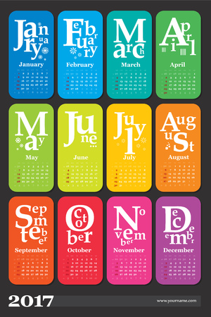 Creative calendar 2017 - week start on sunday, classic grid with numbers. Multicolored pages can be used for print,  bookmark. Stock Vector - 66775473
